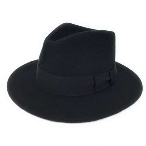 Black Fedora Hat: Wool, Crushable - Indy